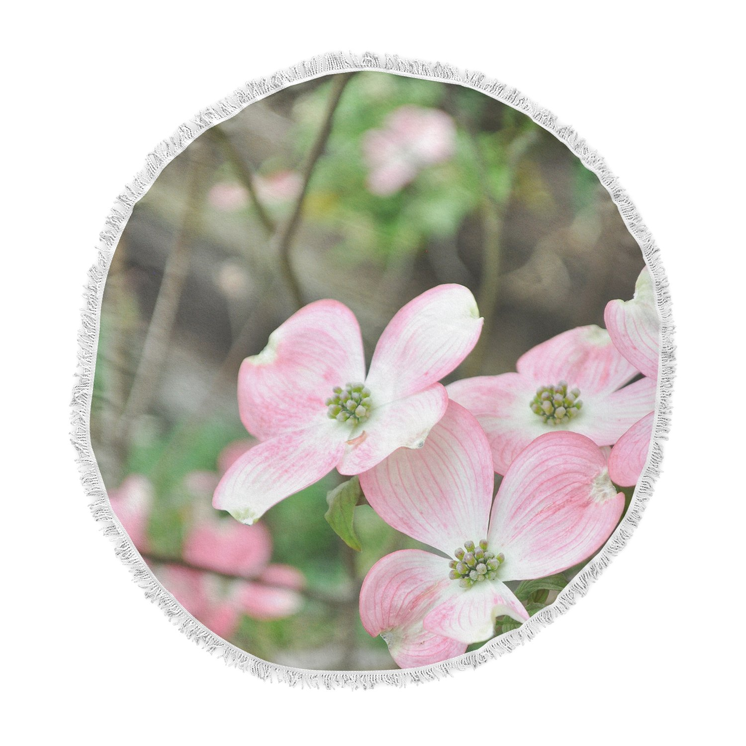 Kess InHouse Jennifer Rizzo Spring Flowering Dogwood Pink Green Round Beach Towel Blanket