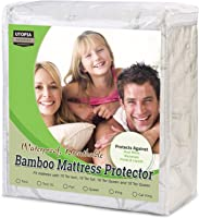 Waterproof Bamboo Mattress Protector - Hypoallergenic Fitted Mattress Cover - Breathable Cool Flow Technology by Utopia Bedding
