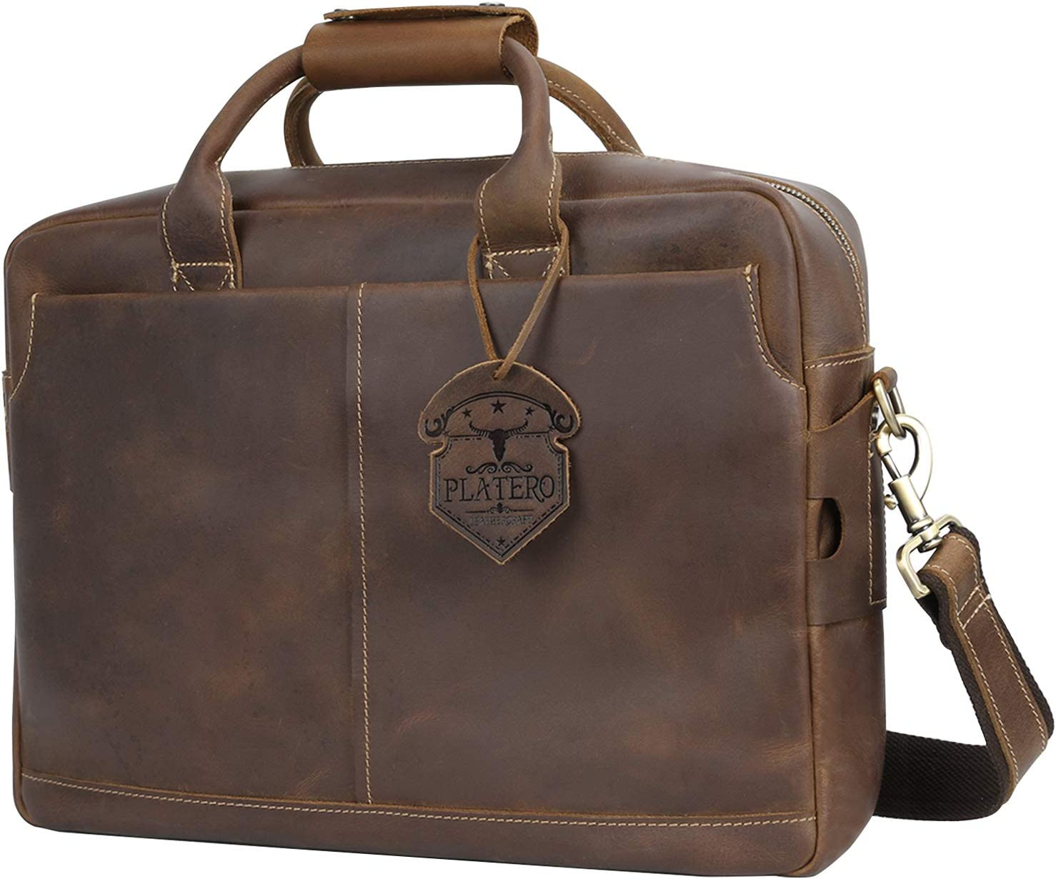 Platero Genuine Leather Briefcase for Men, Vintage Messenger Bag for 15.6'' Laptop Business Bag with Luggage Sleeve, Dark Brown