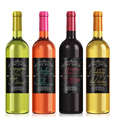 Amazon.Com: Retirement Gift Wine Label Set - Set Of 4 - Exactly