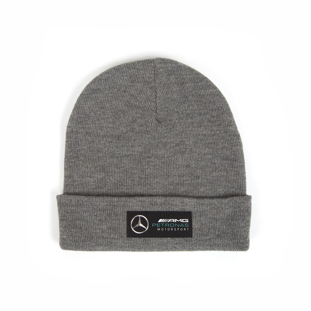 Mercedes AMG Petronas 2018, Grey Beanie Hat, Officially Licensed Mercedes Accessories Branded