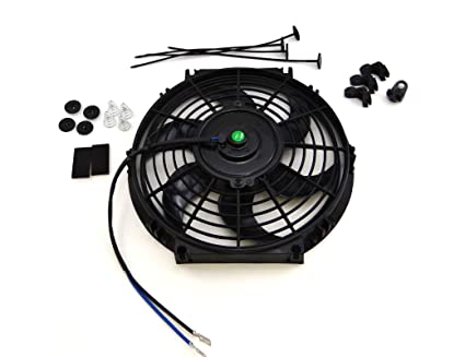 SUPERFASTRACING 16 inch Universal Slim Fan Push Pull Electric Radiator Cooling 12V Mount Kit Black