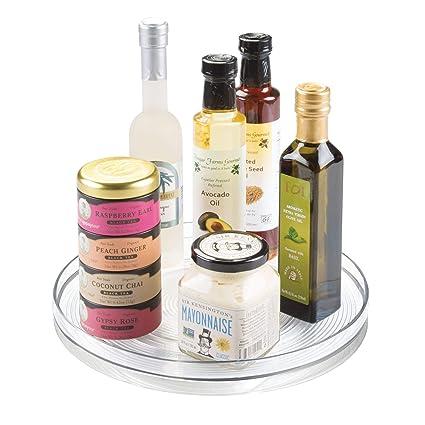 iDesign Plato giratorio para la cocina, organizador de armarios grande de plástico libre de BPA, especiero giratorio para guardar especias y tarros en ...