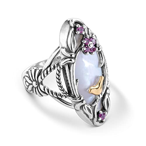 Carolyn Pollack Sterling Silver and Brass Mother of Pearl and Rhodolite Garnet Gemstone Flower Bird Ring Size 5 to 10