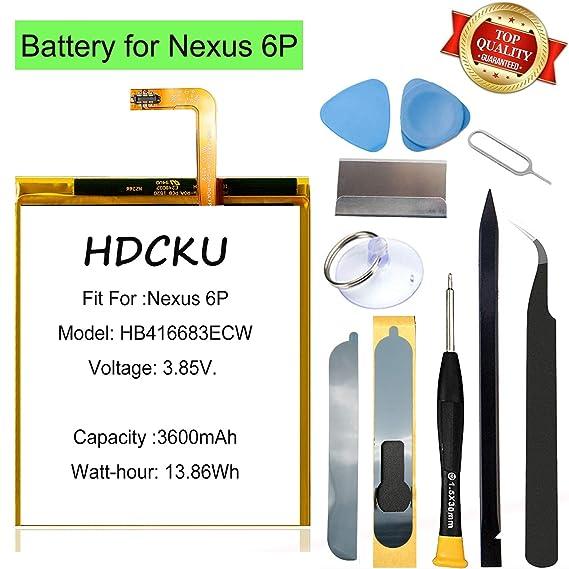 HDCKU Nexus 6P Battery Replacement Kit for Huawei Google Nexus 6P  HB416683ECW H1511 H1512 Battery Repair 3600mAh with Tools and  Insturctions(12 Month