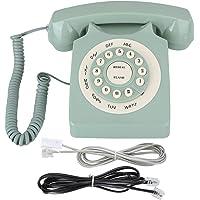 HERCHR Teléfono con Cable, Estilo Retro Teléfono Fijo Europeo Retro Llamada HD Verde Teléfono con Botón Transparente…