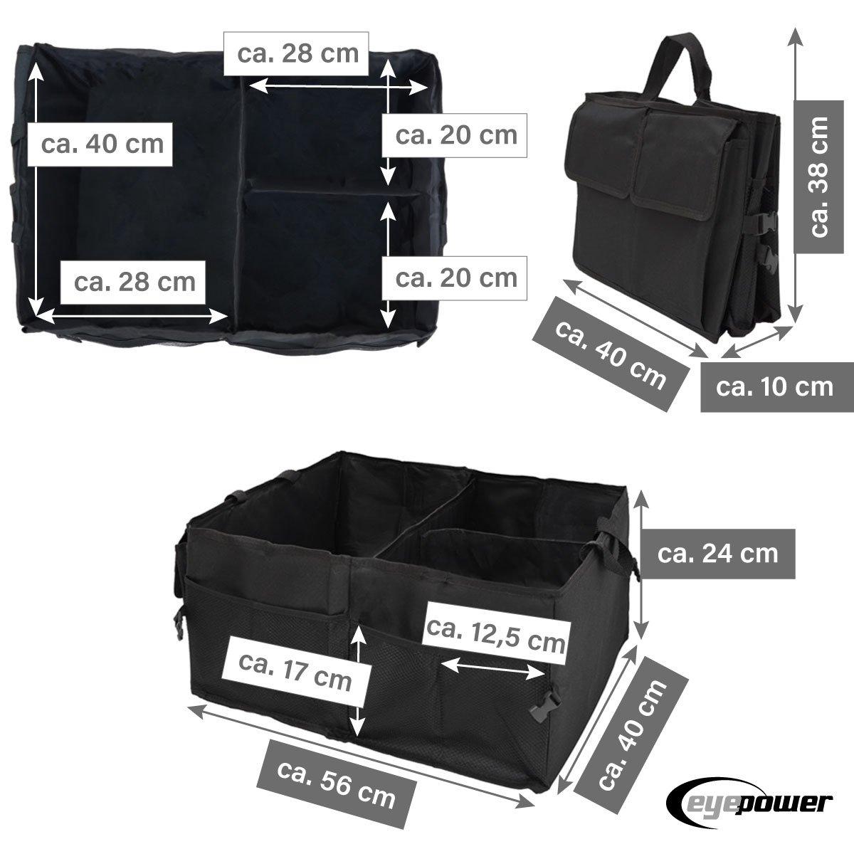 Eyepower Kofferraumtasche Auto Organizer 56x40x24 cm Autozubeh/ör Tasche Faltbare Kofferraum Aufbewahrungs-Box Schwarz