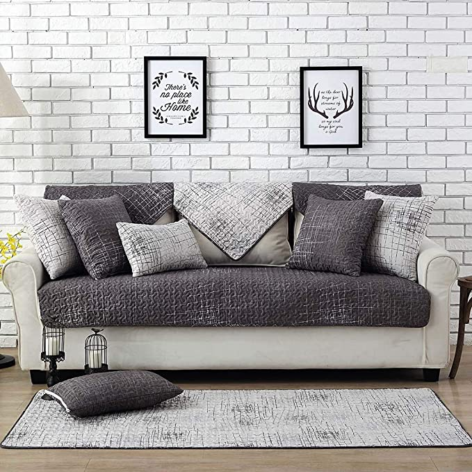 Feile Home 100% Cotton Sofa Slipcover Gray Couch Cover Anti-Slip Concise Sofa Protector 36