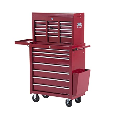 HOMCOM Rolling Toolbox Tool Top Chest Cart Cabinet 16 Drawers Storage Case with Wheels (Red  sc 1 st  Amazon UK & HOMCOM Rolling Toolbox Tool Top Chest Cart Cabinet 16 Drawers ...