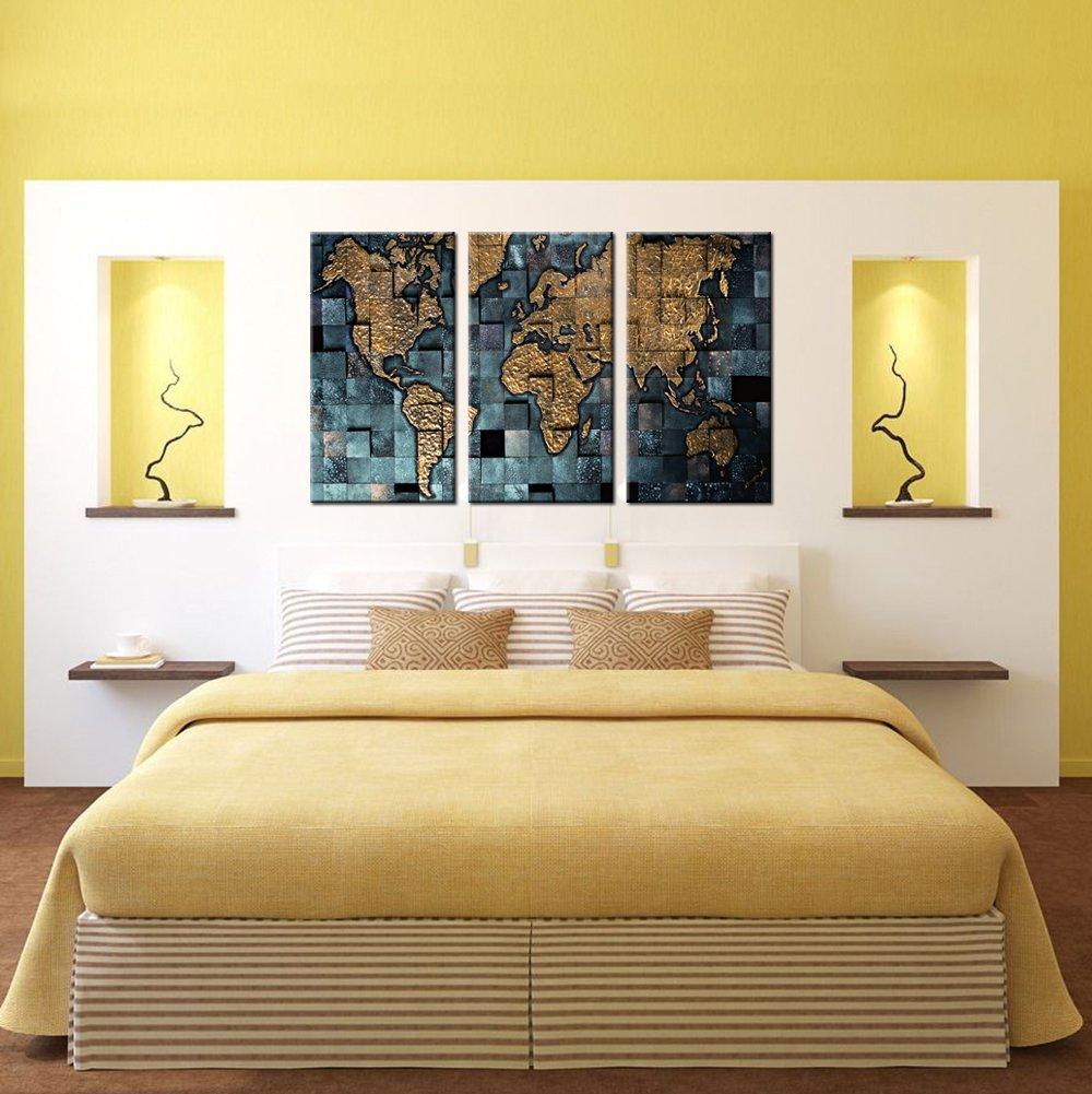 Amazon.com: VVOVV Wall Decor - 3 Panel Wall Art World Map Poster ...