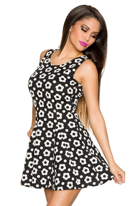 Sommerkleid im angesagten Retrolook (L/XL, Schwarz Creme)