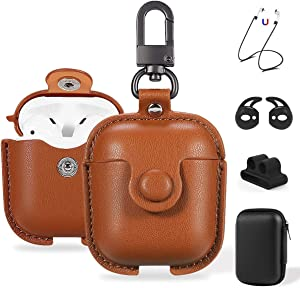 Maxjoy Compatible Airpods Case, Leather Airpods Cover 5 in 1 Protective Case with Keychain/Ear Hooks/Airpods Strap/Watch Band Holder/Earpods Case Compatible with Apple Airpods 2&1 Charging Case, Brown