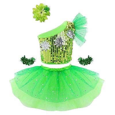 vastwit Toddlers Kids Girls Halter Shiny Sequined Ballet Dance 3D Flower Tutu Dress Stage Performance Costumes: Clothing