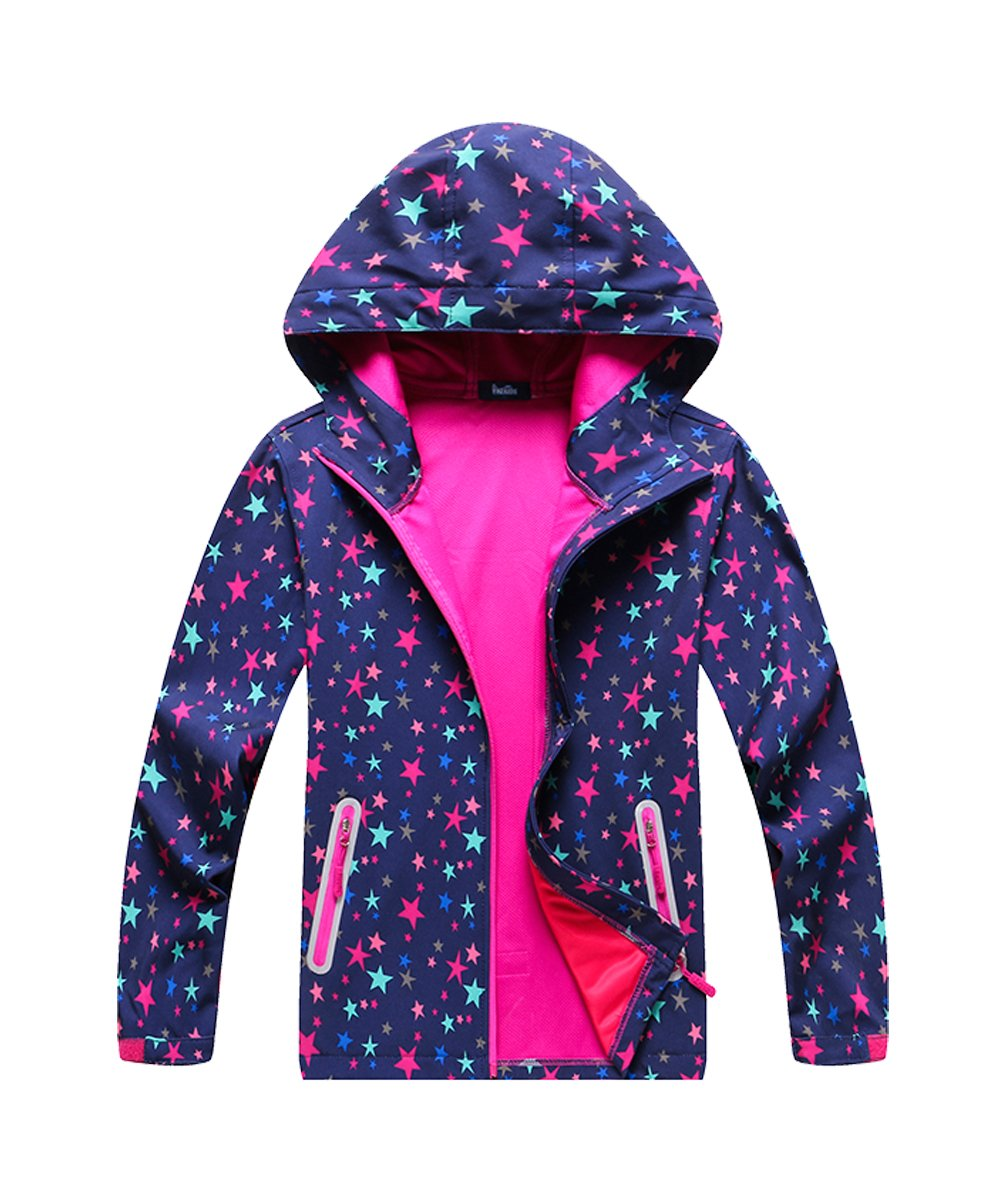 M2C Girls Stars Pattern Windproof Hooded Jackets with Composite Mesh 6/7 Purple by M2C