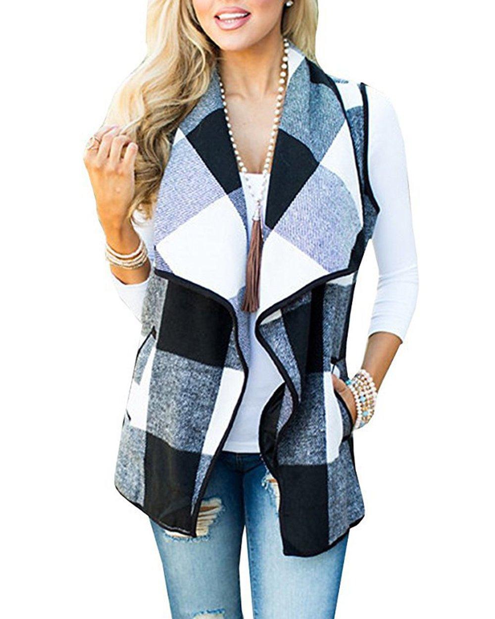 Lovelyduo Women's Open Front Sleeveless Vest Cardigan Coat Black S