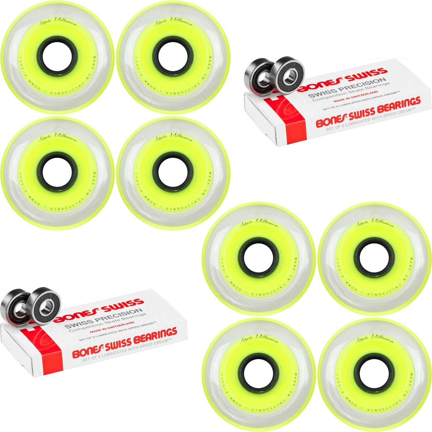 Labeda Millennium Gripper Yellow Hockey Inline Wheels 80mm X-Soft 8 Pack Swiss