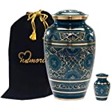 Caribbean Blue Cremation Urn - Handcrafted Classic Azure Urn for Ashes - Majestic Blue Funeral Urn with Beautiful Gold Etched Design - Large Urn with Free Keepsake & Bag