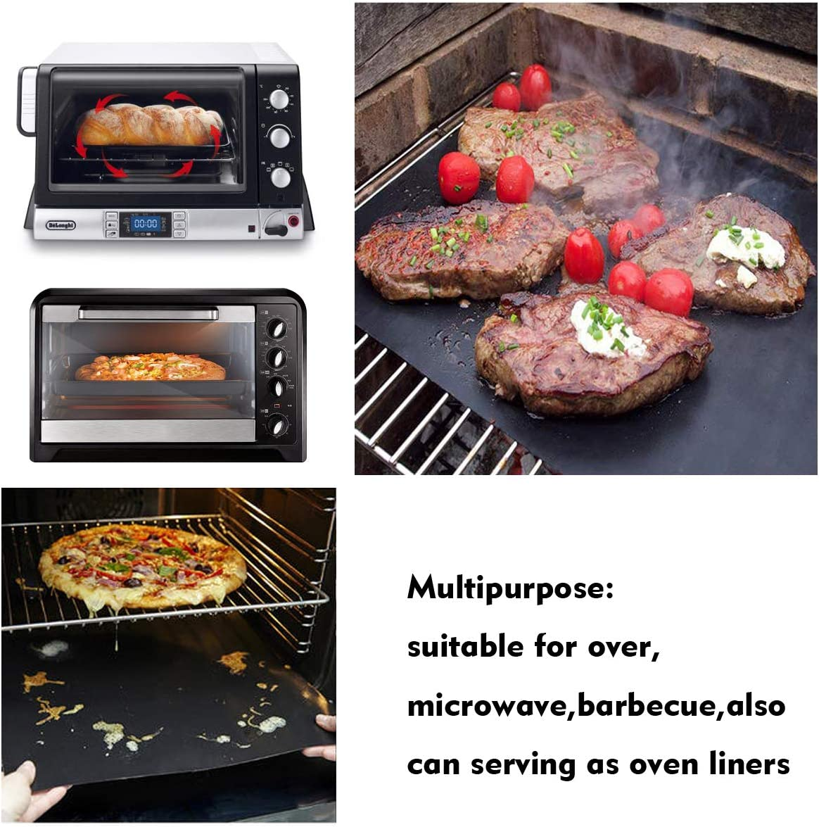 Black-40/×180 cm Barbecue Sheets For Grilling Meat YOWAO BBQ Grill Mat Easy to Clean Durable Reusable Non Stick Oven Liner Teflon Cooking Mats Heat Resistantand