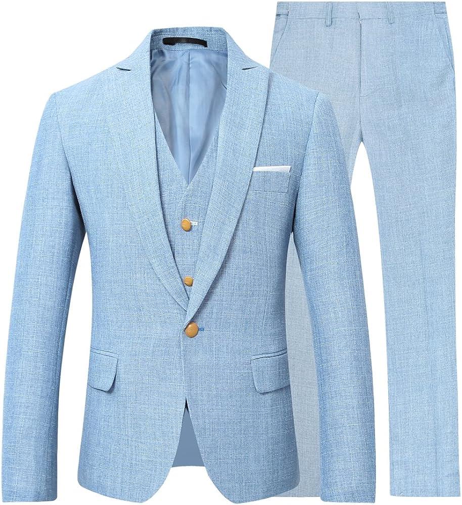 YOUTHUP Herren Anzug Slim Fit 3 Teilig Anz/üge Herren Sakko f/ür Hochzeit Business Anzugjacke Anzughose Weste