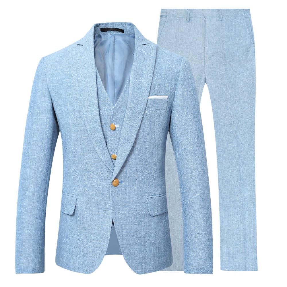 YOUTHUP Abiti Uomini di 3 Pezzi Regular Fit 1 Pulsante Lino Suits Strutturato Blu//Beige