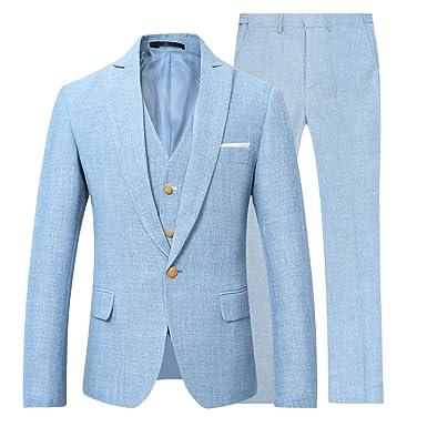 YOUTHUP Costume Homme en Lin Coupe Slim 3 Pièces Affaires Mariage Veste  Gilet et Mariage 47b4fa79d17