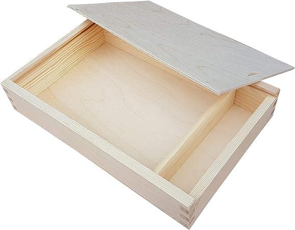 Woodenstock Caja de Madera con Tapa Deslizante para Fotos y bolígrafos: Amazon.es: Hogar
