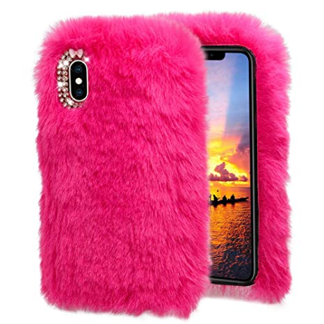 coque fourrure et strass iphone x