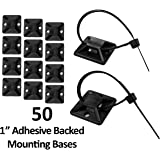 "1"" Adhesive Backed Mounting Bases - 50 Pieces - Color: Black"