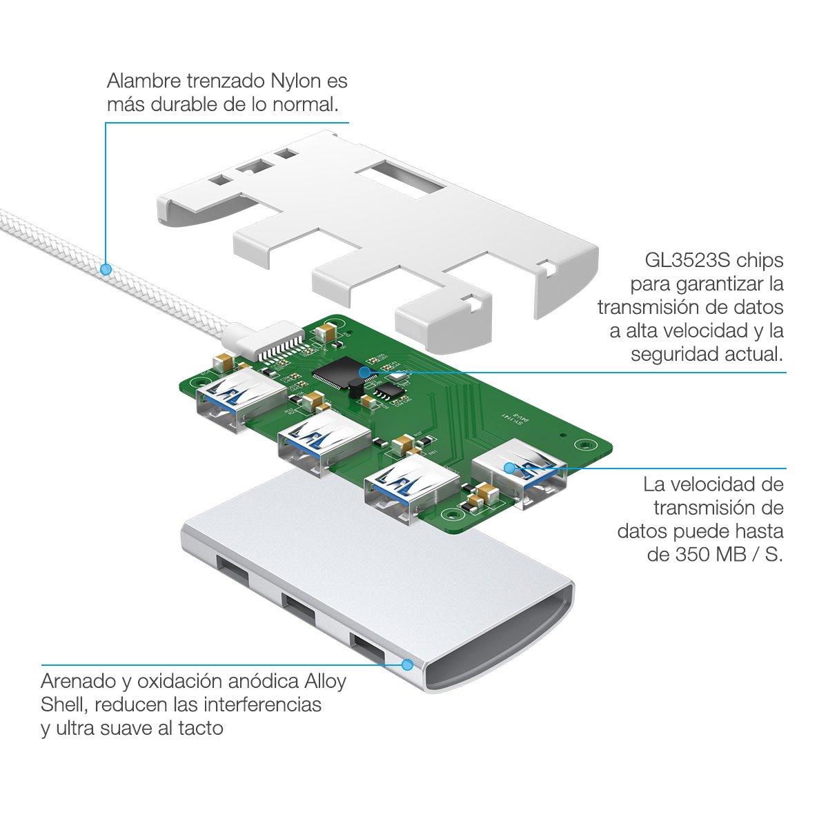 Poweradd Hub USB 3.0 4 Puerto de Type-C Alta Velocidad para MacBook, New Macbook,PC, USB Flash Drives y Ordenador Portátil de Type C -Argentado