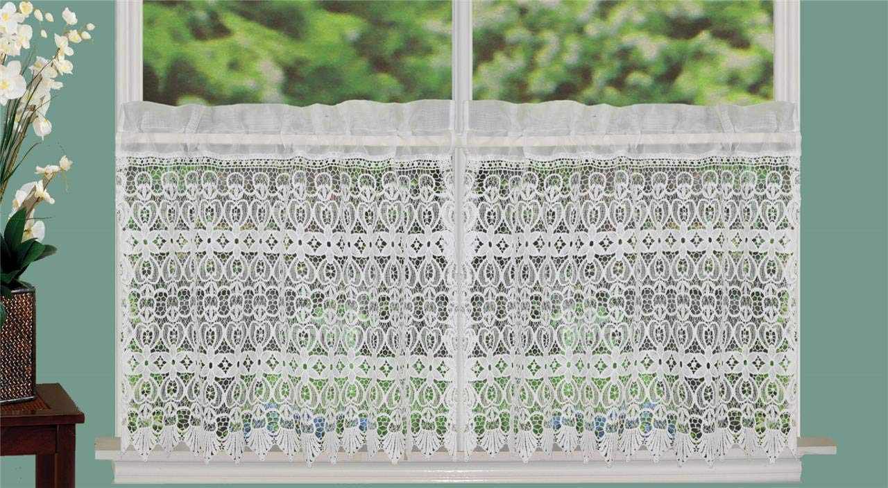 Creative Linens Knitted Lace Kitchen Curtain Valance Ivory 1PC FBA_B0199KTRKK