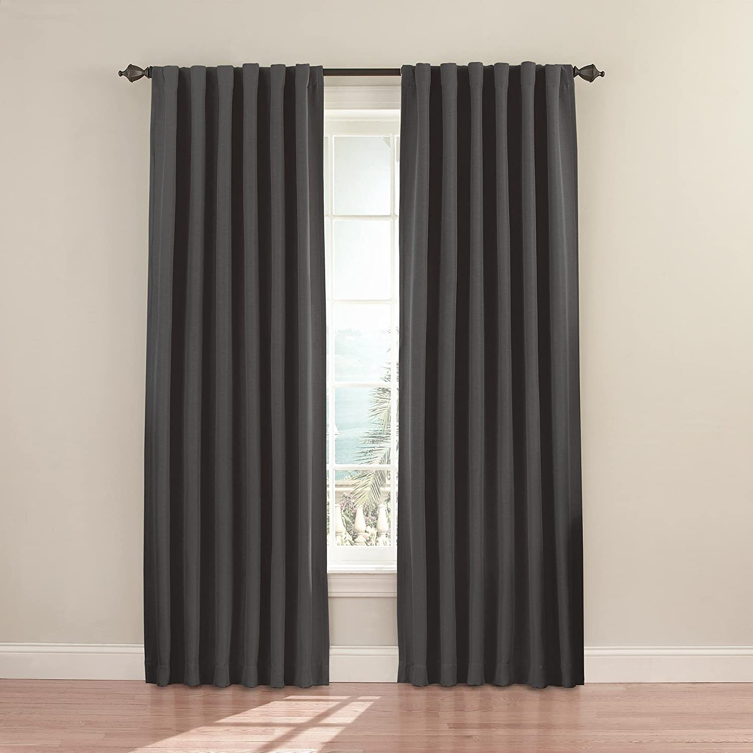 Eclipse Fresno Blackout Window Curtain Panel, 52 x 84-Inch, Charcoal
