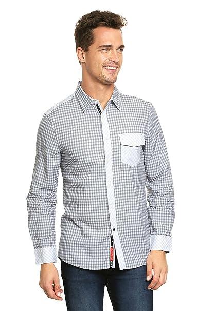 d911bd12e English Laundry Camisa Gris con Bolsillo Camisa para Hombre Gris Talla XL