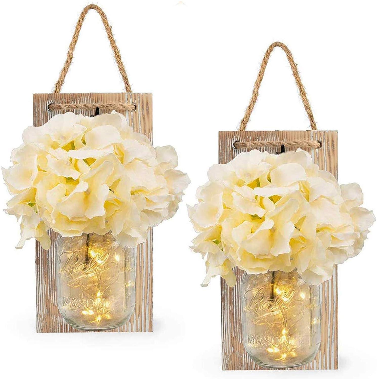 LED Lámpara de Decoración, Tarro de masón lámpara de pared con flores artificiales, Aplique de madera rústico Ganchos de hierro forjado, interior decoración lámpara para cocina, salón.(marrón)