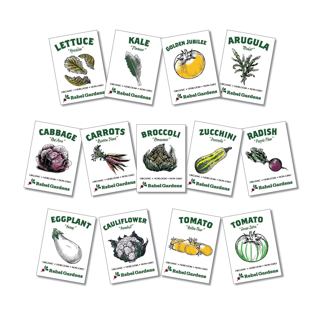 Heirloom Vegetable Seeds - 13 Varieties of Organic Non-GMO Open Pollinated Garden Seed for Planting - Weird and Rare Varieties Perfect for Kids and School Gardens by Rebel Gardens