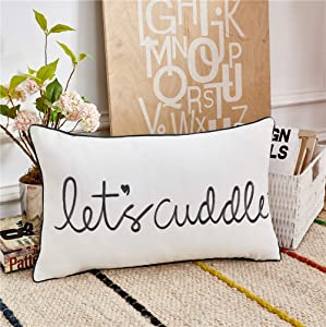 Sanmetex Let's Cuddle Farmhouse Lumbar Pillow Cover, Rectangle Throw Pillow Case for Bedroom. Livingroom Cushion Cover for Sofa,Couch,Bed 12 X 20 Inch (30X50cm) Color Grey.