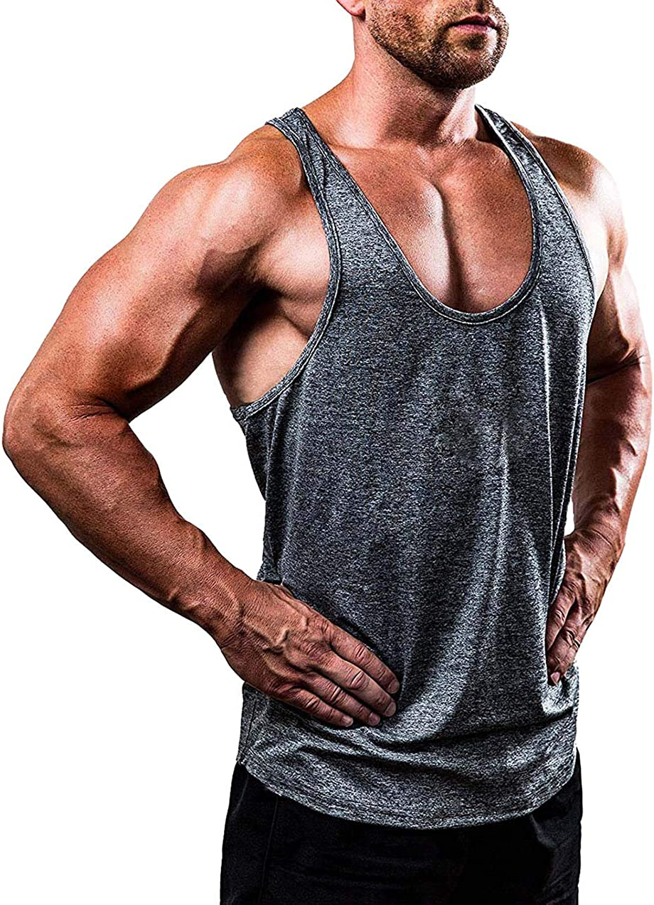 FUOE Mens Gym Muscle Vest Bodybuiding Stringer Athletic Workout Fitness Tank Tops