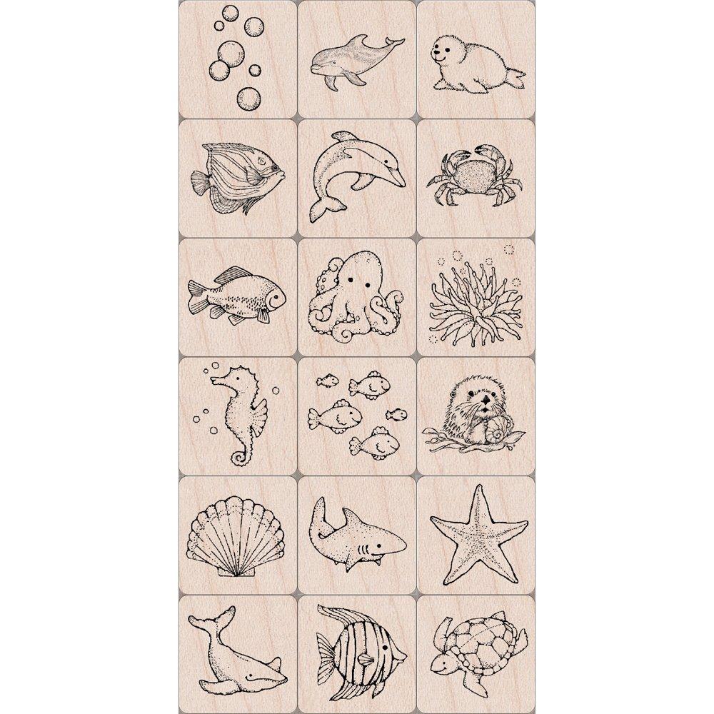 Hero Arts 3 x 10,16 cm diseño de de animales marinos de de tinta-N-sello Tub, rojo cf35a4