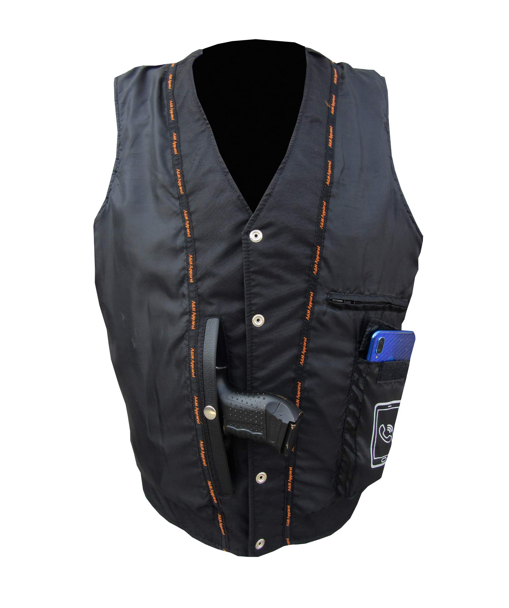 A&H Apparel Mens Motorcycle Genuine Cowhide Leather Biker Concealed Carry Durable Vest (X-Large)