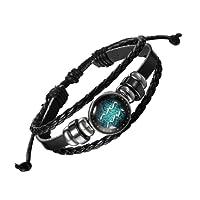 The Jewelbox 12 Constellation Zodiac Star Sign Good Luck Braided Black Leather Strand Bracelet Birthday Gift Men Women