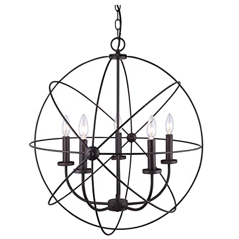 Chandelier 5 light orb sphere hanging ceiling pendant globe oil chandelier 5 light orb sphere hanging ceiling pendant globe oil rubbed bronze aloadofball Choice Image