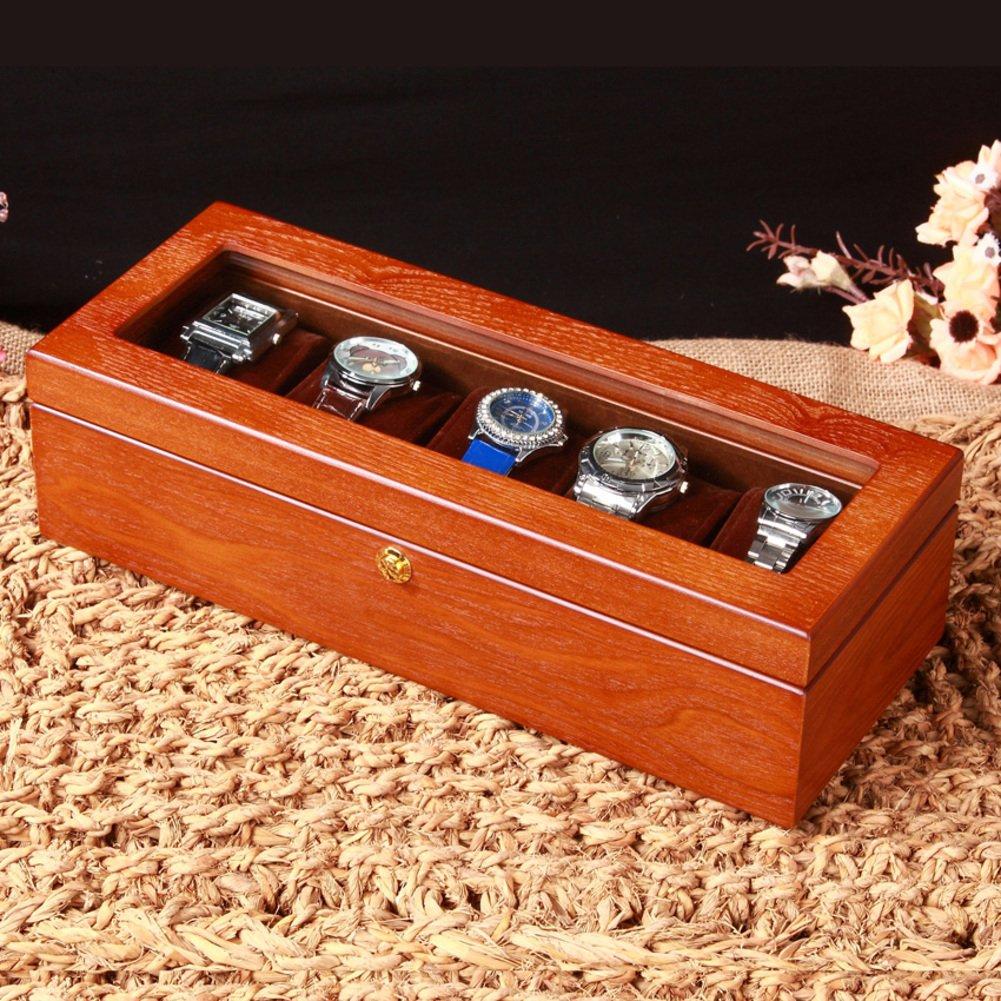 Treソリッド木製品質時計ボックス/ Watchストレージボックス/ 5 with透明ウィンドウ表示ボックス/ Large Dialボックス MNCBZ B01MS7KFGD A A