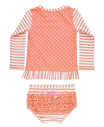 65e1abaa063 RuffleButts Baby Toddler Girls Coral Stripe Polka Long Sleeve Rash Guard  Bikini - 12-