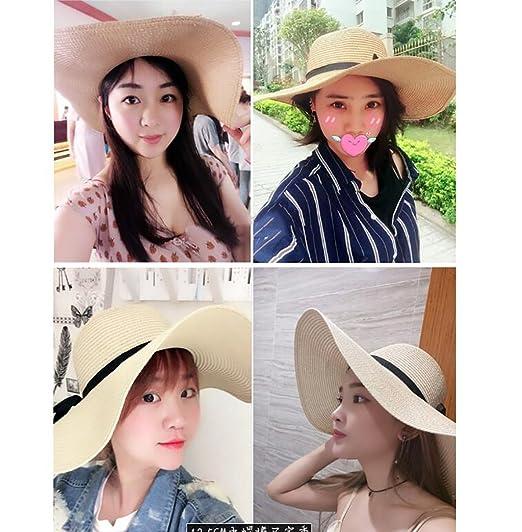 Sombreros de paja de verano Gorras de playa para mujeres Sombreros para el sol  Gorras frías Protector solar plegable Sombreros UV para el sol Gorras de ... 28bba3807d6