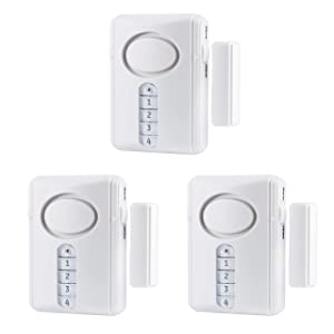 GE Deluxe Wireless Door Alarm, 3-Pack, 120 Decibel, Alarm or Entry Chime, Indoor Personal Security, with Keypad Activation, 45990