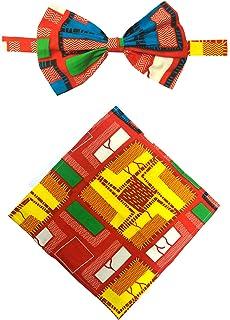 Kente Bow Tie /& Pocket Square Set for Men Bow Ties For Men Kente Bow tie Self Tie Bow Tie by Tausi 100/% Silk Mens