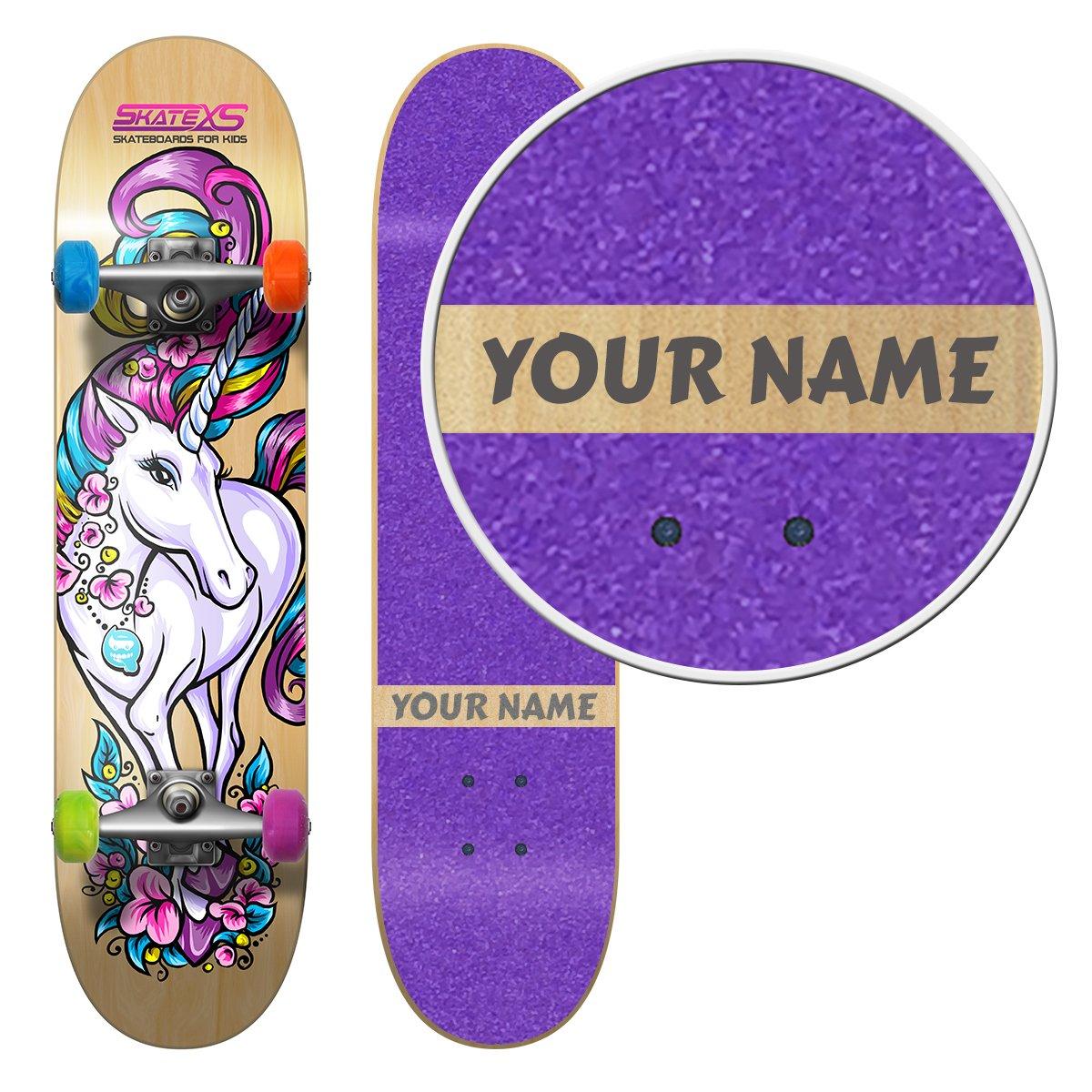 SkateXS Personalized Beginner Unicorn Girls Skateboard by SkateXS