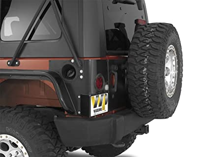 Warrior Products 1564 Side Mount License Plate Bracket With LED Light For  Jeep JK 07