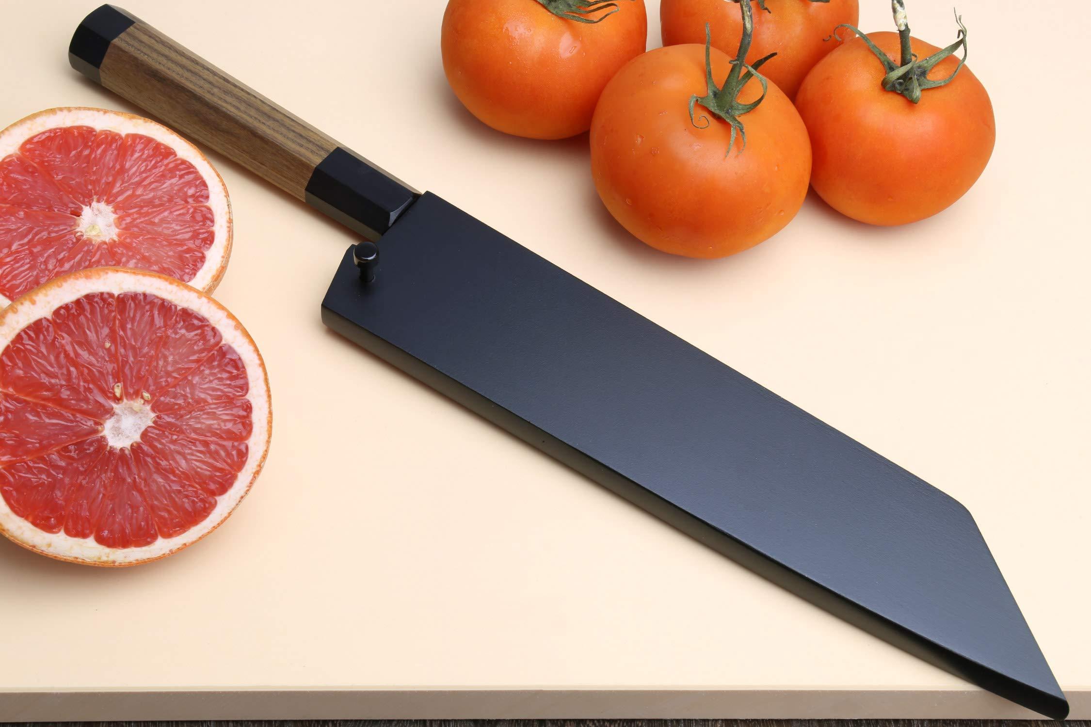 Yoshihiro Mizu Yaki Blue High Carbon Steel Super Kurouchi Kiritsuke Multipurpose Chef Knife (8.25 In) with Nuri Saya Cover by Yoshihiro (Image #7)
