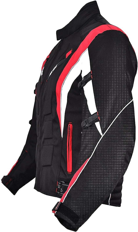 Norman Herren Motorrad Motorrad Jacke Wasserfeste Textil Mit Ce Verstärkt Rot Schwarz Bekleidung