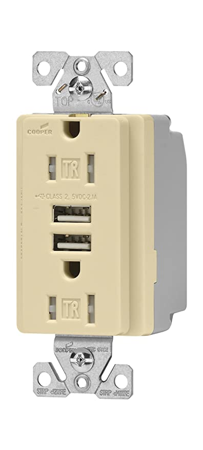 Prime Eaton Wiring Tr7745V Box Combination Usb Charger With Tamper Resistant Receptacle And Box 15 Amp Ivory Finish Wiring Database Gramgelartorg